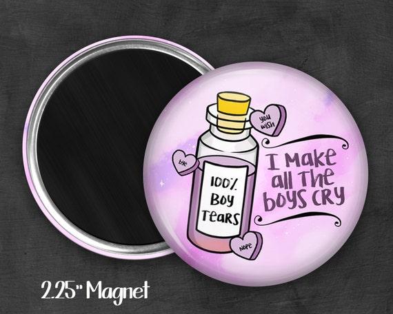 """2.25"""" Boy Tears Magnet, Geek Magnet, Geekery, Magnet Button,  Kawaii Magnet, Refridgerator Magnet, Kawaii, Fairy Kei, Pastel Goth"""