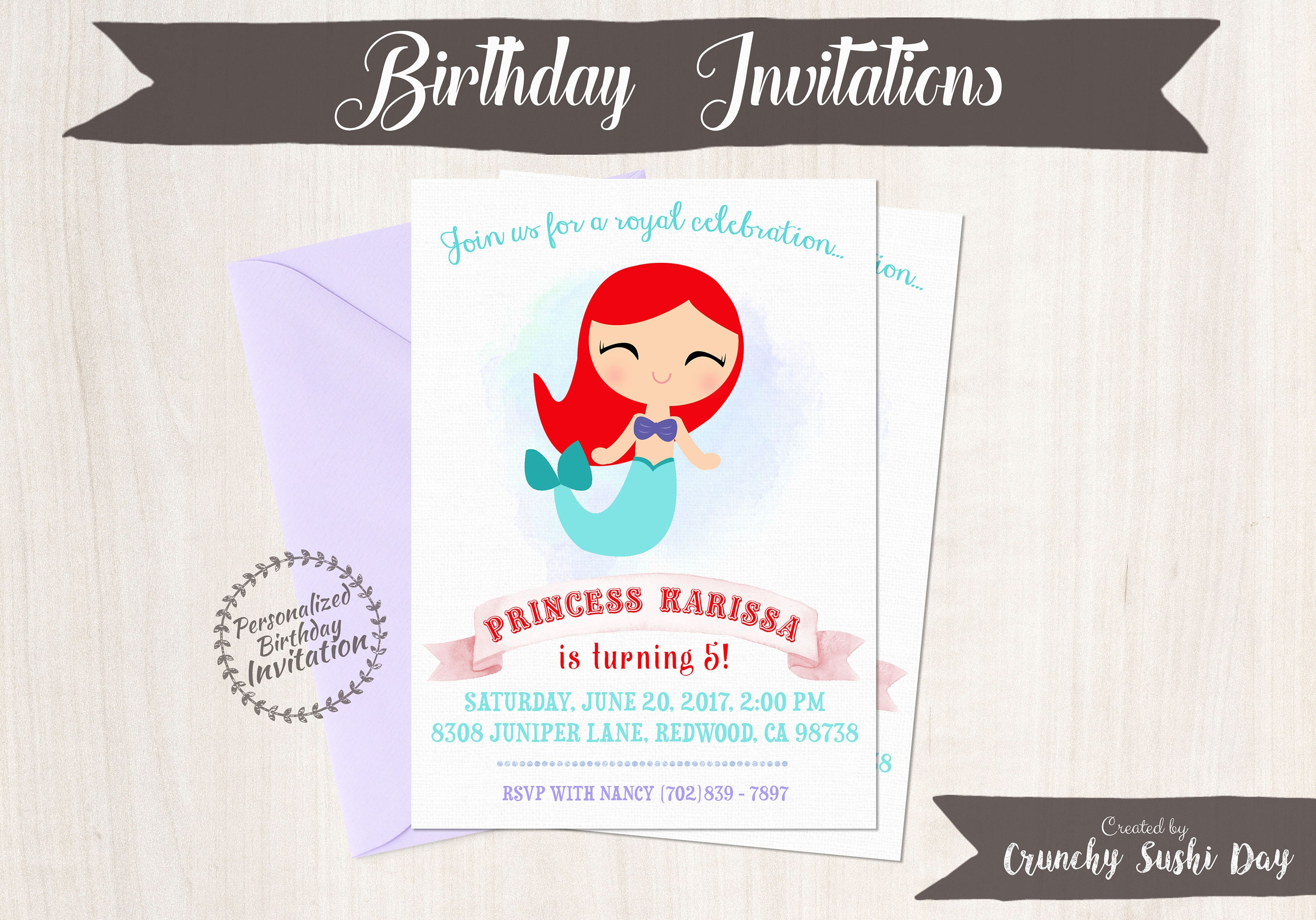 Princess Ariel Customizable Birthday Invitations Girl