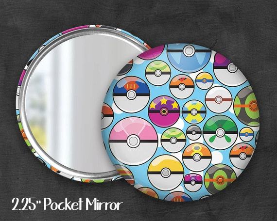"2.25"" Pokeball Pocket Mirror, Geek Pocket Mirror, Geekery, Mirror Button,  Kawaii Mirror, Pocket Mirror, Fanart, Fandom"