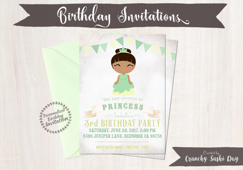 Princess tiana birthday invitations customizable princess girl princess tiana birthday invitations customizable princess girl birthday invitations tiana birthday printable party fairy tale 062 filmwisefo