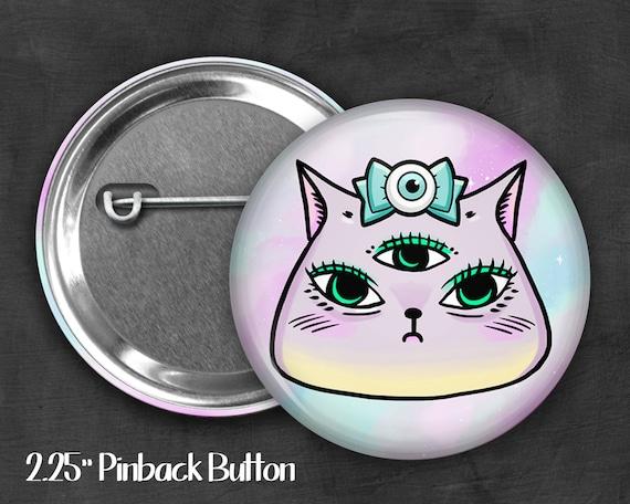"2.25"" Kawaii Kitty Pinback Button, Geek Button, Geekery, Button, Kawaii Button, Badges, Flare, Pin, Kawaii, Fairy Kei, Pastel Goth"