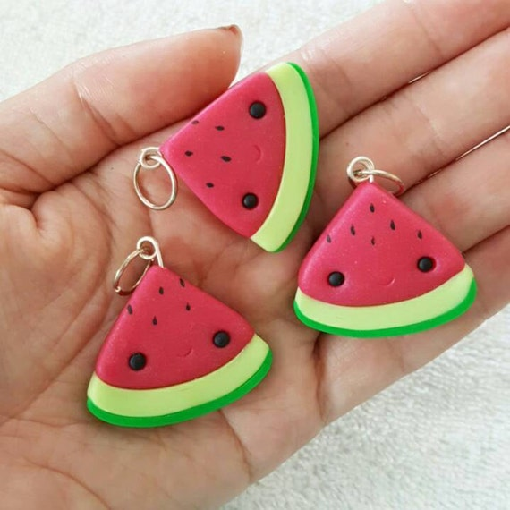 Watermelon Charm, Melon Polymer Clay Pendant, Food, Miniature Food Charm, DS Charm, polymer clay, clay pendant, Kawaii, Chibi, Clay Charm