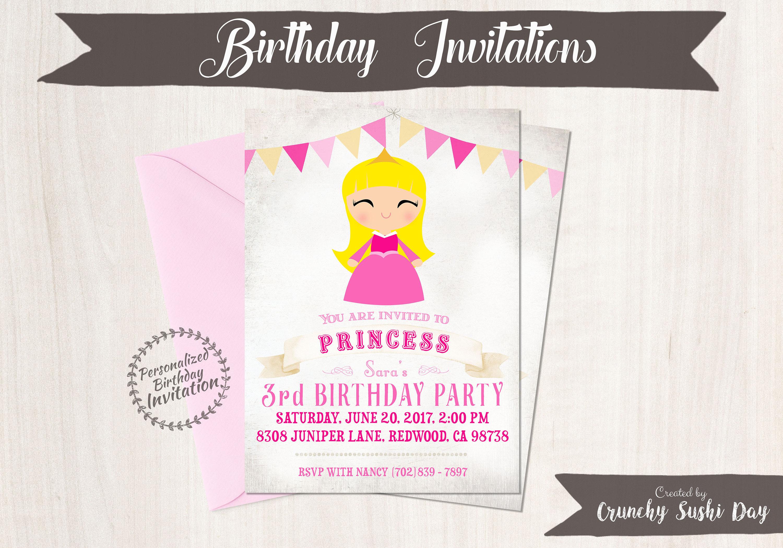 Princess Aurora Customizable Birthday Invitations, Princess, Girl ...