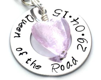 Personalised Keyring for Girls, Queen of the Road Keepsake, Personalised Driving Pass Congratulations, Driving Test Good Luck Gift