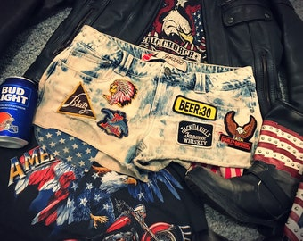 03ca51a83c Amazing Vintage Patch Acid Wash Cut-Off Country Music Festival Beer  Drinking Concert Party Summer Shorts - One of a kind