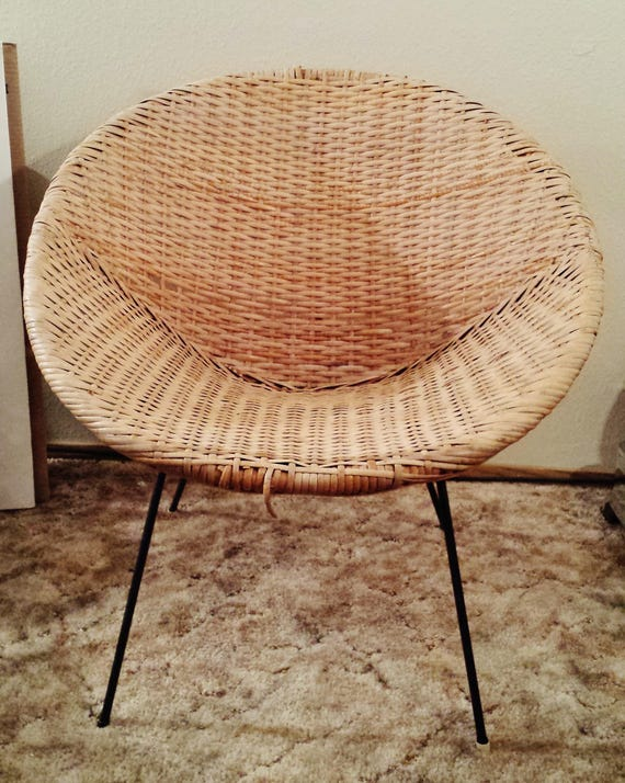 Strange Rattan Scoop Chair With Iron Base Vintage Furniture Uwap Interior Chair Design Uwaporg