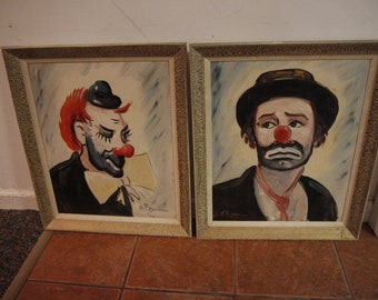 Clown painting | Etsy