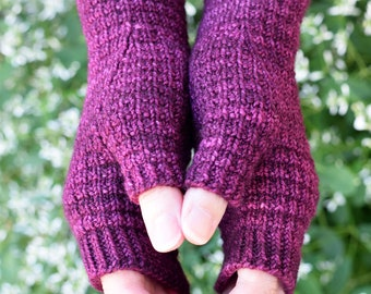 KNITTING PATTERN - Woodmere Fingerless Mitts (Adult Extra Small, Small, Medium, Large, Extra Large sizes) Digital Download PDF