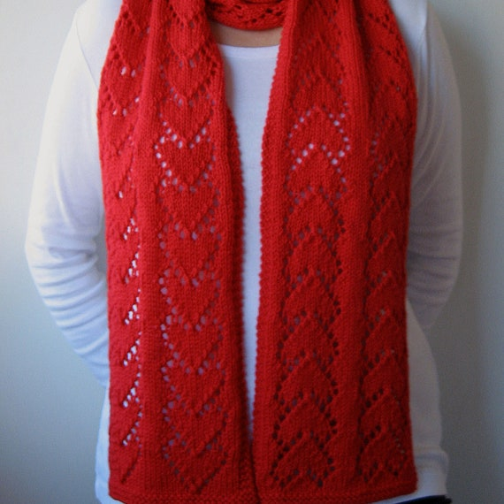 Lace Hearts Knit Scarf Pattern Forever Hearts Scarf Knitting Etsy