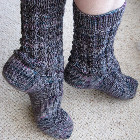 Textured Knit Socks Pattern Ribbed Faux Cable Socks Knitting Etsy