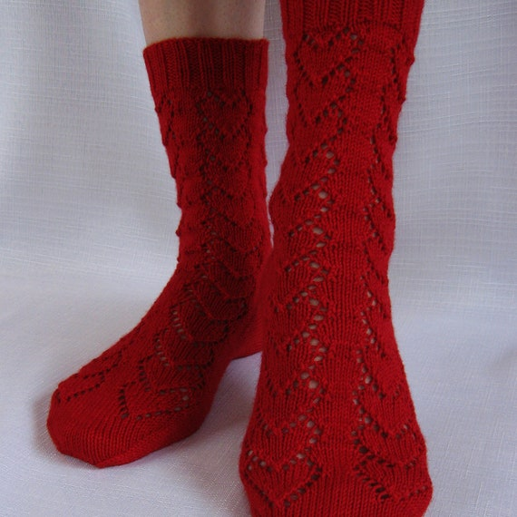 Lace Hearts Knit Socks Pattern Hearts Forever Socks Knitting Etsy