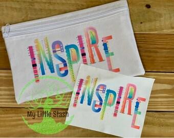 INSPIRE Zipper Bag Lens Cloth SET Travel Toiletry Cosmetic Pouch Pencil Supply Bag Dopp Kit