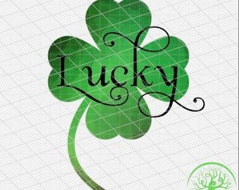 Lucky St Patrick's Day 4 leaf clover shamrock digital sublimation file