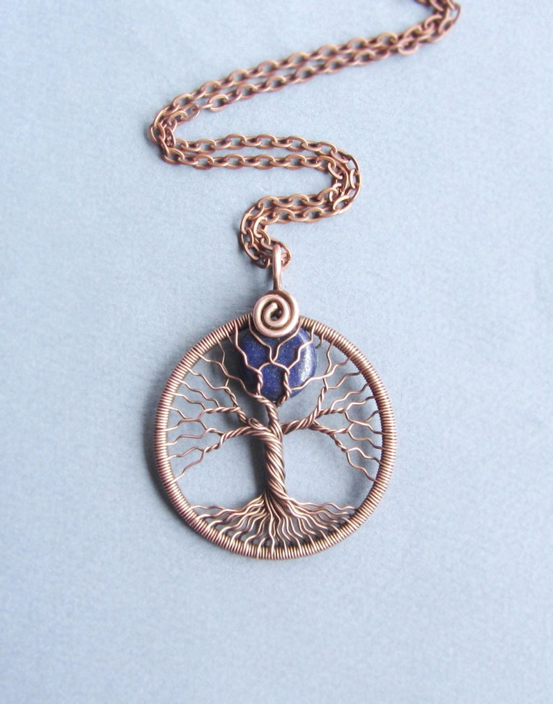 Mother day gift for her Full moon necklace copper wire Tree of life pendant  September birthstone navy blue Lapis lazuli Universal gift him