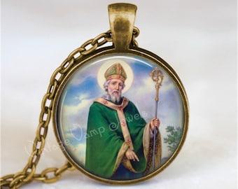 St. Patrick Necklace, St. Patrick's Day Necklace, Irish Necklace, St. Patrick Pendant, St Patricks Day Jewelry, Irish Jewelry,Saint Necklace