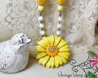 YELLOW SUNFLOWER Necklace One Of A Kind Assemblage Upcycled Repurposed Vintage Charm Bohemian Altered Art Beaded Necklace Yellow Flower