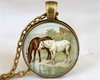HORSE Necklace, Horse Pendant, Horse Jewelry, Vintage Horse Print, Gift for Horse Lover, Equestrian Gift Glass Photo Art Necklace, Horse Art