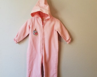 a09cda008 Vintage Girls Pink Peter Rabbit Pants Romper/Snowsuit by Thomas- Size 6-9  months- Easter Outfit- Hoodie- Beatrix Potter- Pink Pants