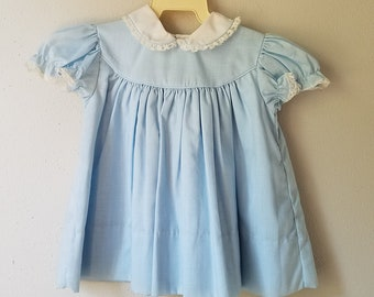 Vintage Girls Blue Dress with White Peter Pan Collar Trimmed in Lace - Size 18 months- New, never worn- Easter Dress- Simple Classic