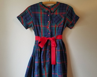Vintage 50s Girls Red Plaid Dress with Round Collar- Size 8/10- Gently Worn
