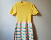 Vintage 60s Girls Yellow Striped Sweater Dress - Size 7 - Gently Worn
