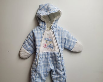 Baby Toddler Boys Chambray Effect Winter Coat Jacket Faux Fur Trim 12-18 Months