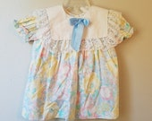 Vintage Girls Blue Floral Dress with White Collar and Lace Trim by New York Kids- Size 2t- Gently Worn- Flower Girl- Easter Dress