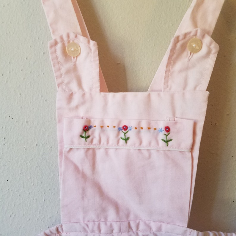 Size 18 months Vintage 1950s Girls Pink Romper with Embroidered Flowers by Gluckspilz Gently Worn