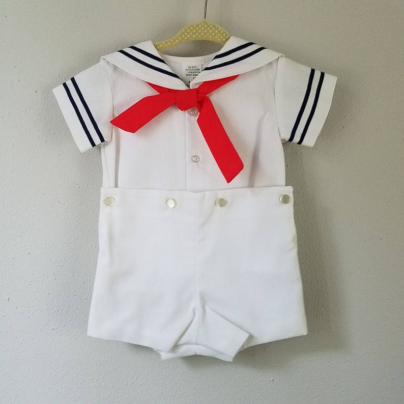 165cd58e8a78b Vintage Boys Classic White Pique Sailor suit with red tie and