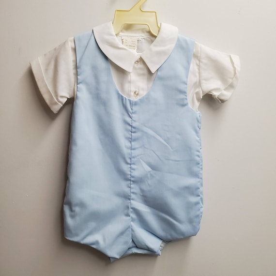 Handmade Size 2 1930s Blue Cotton RomperOnesie with Lace Collar