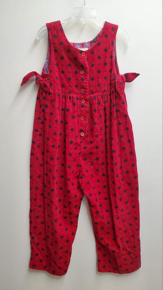 Vintage Girls Red Corduroy Romper Jumpsuit by Laur