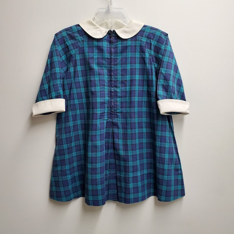 Long Sleeved Gently Worn Thanksgiving Dress Christmas- Size 4t Vintage Girls Blue and Green Plaid Dress with Dog by Florence Eiseman