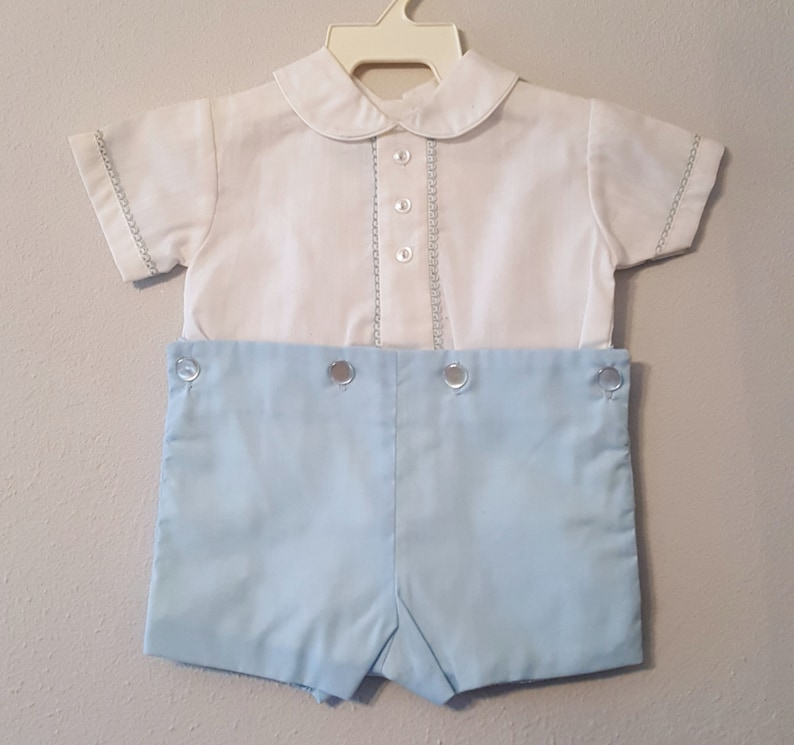 979d27aa6794 Vintage Baby Boy Outfit with White Shirt and blue Shorts