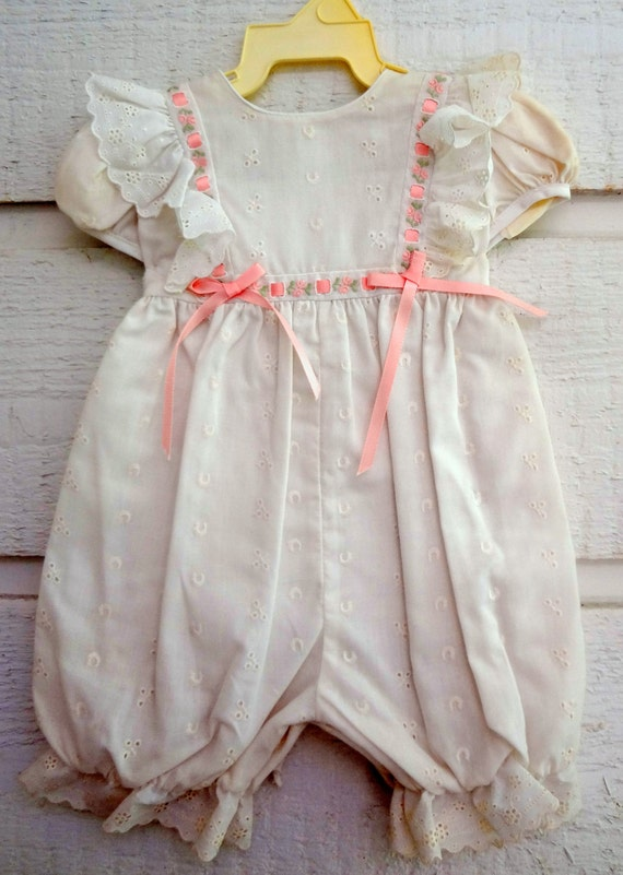 145212de465 Vintage Baby Girls White Eyelet Romper sizes 3 months New