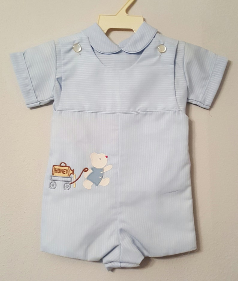 b13d8cac5875 Vintage Jayne Copeland Boys Baby Blue Jon Jon Romper and Shirt