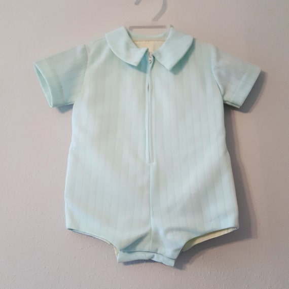a00527065c31 Vintage Boys Green Retro Polyester Romper Size 6-9 months
