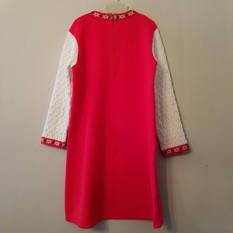 Gently Worn Vintage 60s Girls Red Knit Christmas Dress with Snowflake Trim Size 56