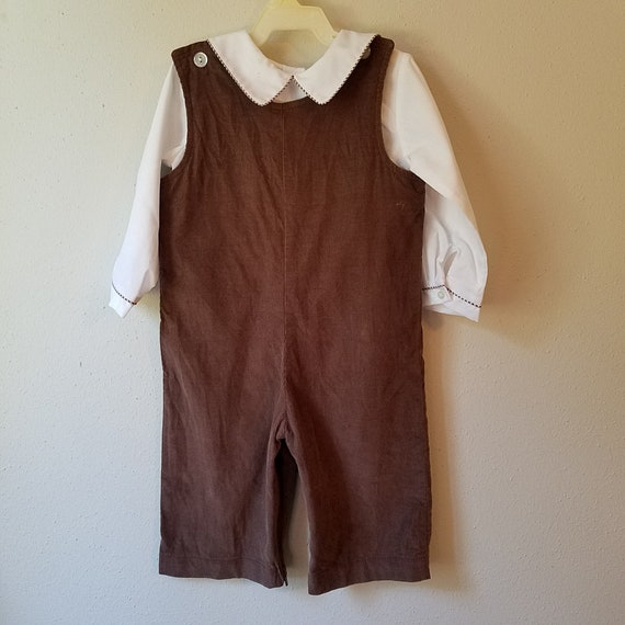 794f673ed Vintage Boys Brown Corduroy Romper Pants with White Shirt with