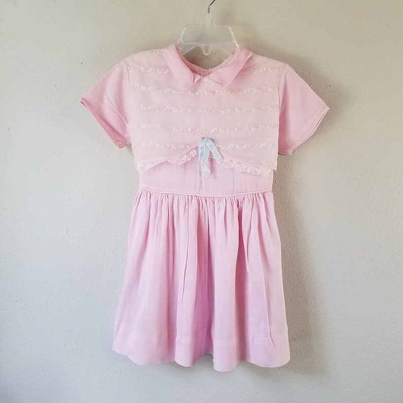 955619f5fef Vintage 1950 s Girls Pink Dress with Sheer Embroidered