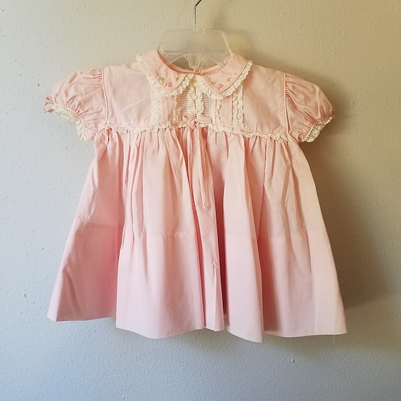 Vintage Girls Pink Floral Dress with Peter Pan Collar New never worn Size 12 months
