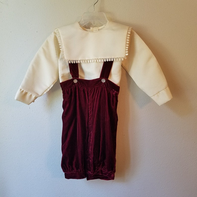 Wedding Ring never worn Size 12 months Vintage Boys Burgundy Velvet Knickers with Suspenders and Off White Blouse Christmas Outfit New