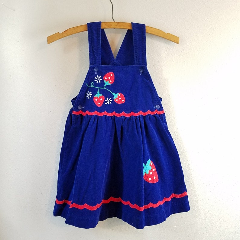 3ca4e2543 Vintage Girls Blue Corduroy Jumper Dress with Strawberry