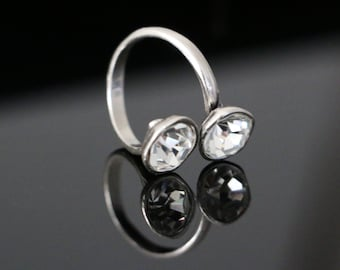 ba81635e0 Double Gem Gap Side Up Spiral Wire Ring. Women Crystal/Black-Jet Round Gemstones  Ring. Multistone Open adjustable Gold/Silver Brass Eve Ring