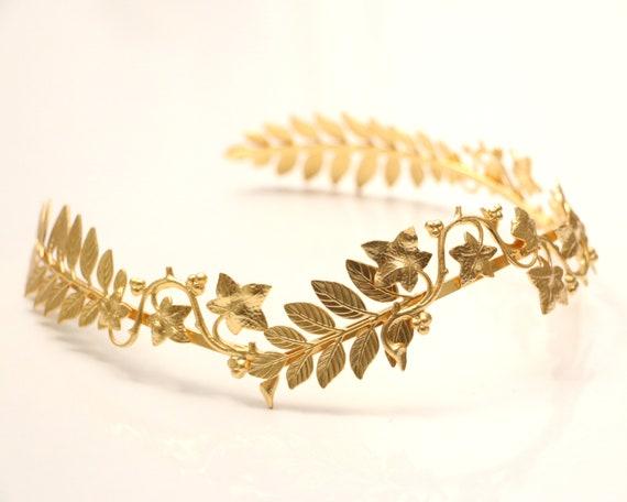 Laurel Goddess Hair Branch Grecian Leaves Gold Girl Crown Leaf Headband Band