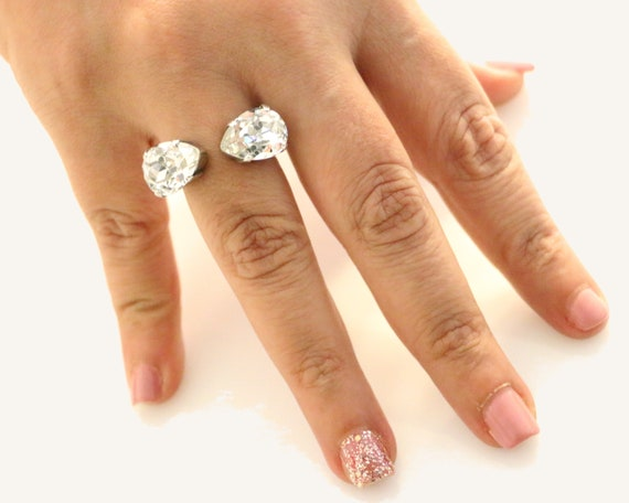 b492e66ac Double Swarovski Crystal/Jet Drop Gems Ring. Women Gemstones   Etsy