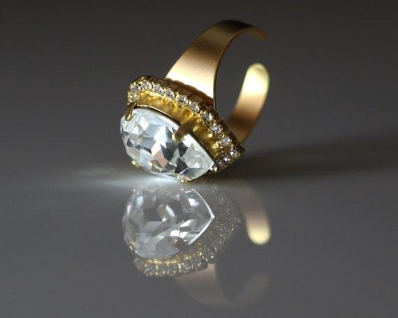 d5a427e21 Swarovski Big Crystal Drop Gemstone Solitaire Gems Crown Ring.   Etsy
