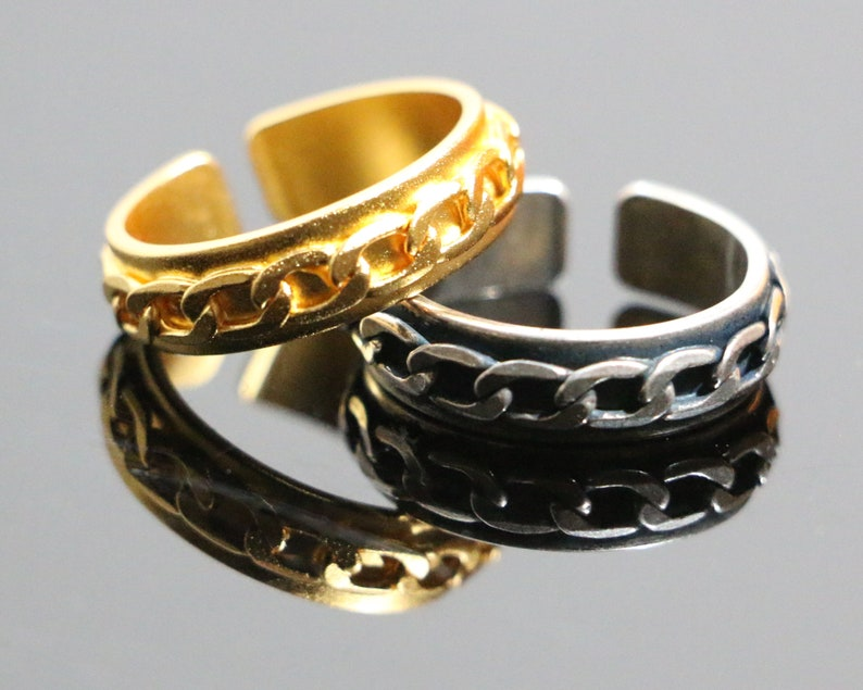 b31036af29815 Dainty Oval Squad Crown Cable Chain Ring. Rose/Gold/Siver Brass Curb Chain  Ring for Women/Men. Unique Open adjust Metal Vertebrae Mesh Ring