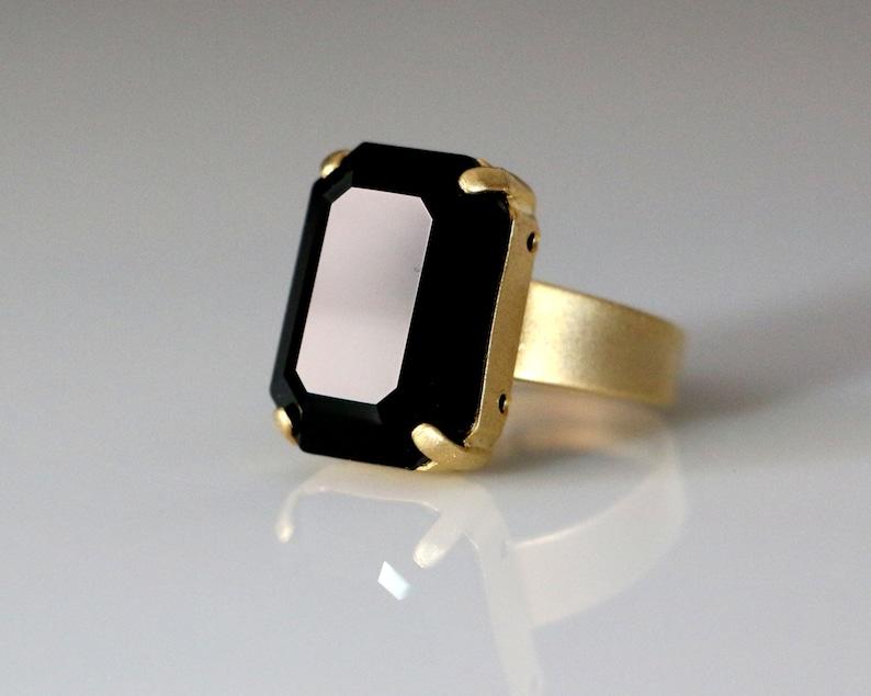 08075351f Swarovski Big Jet-Black Octagon Gem Stone Solitaire Ring for   Etsy