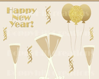 instant download diy printable new years champagne digital clip art for commercial or personal use digital design