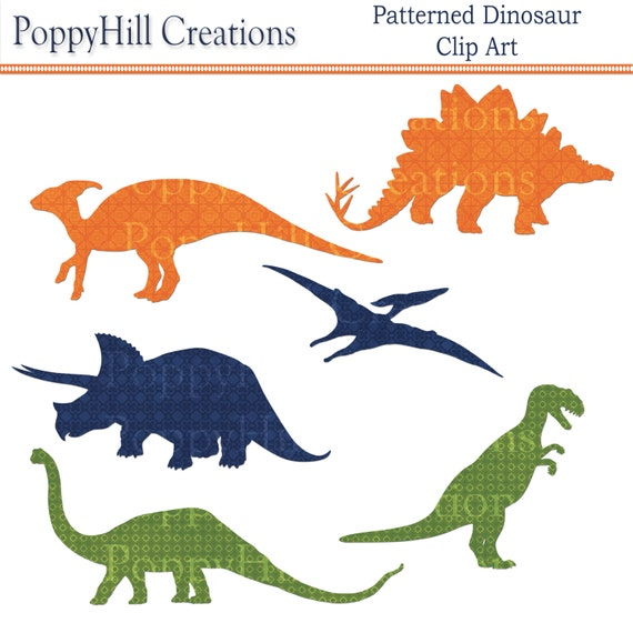 Instant Download Patterned Dinosaur Printable Digital Clip Etsy
